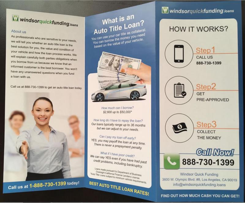 Car Title Windsor Financial Marketing Piece